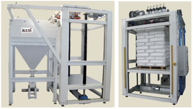 Machine dépalettiseur – Station vide palette de sacs matière 25 kg en automatique